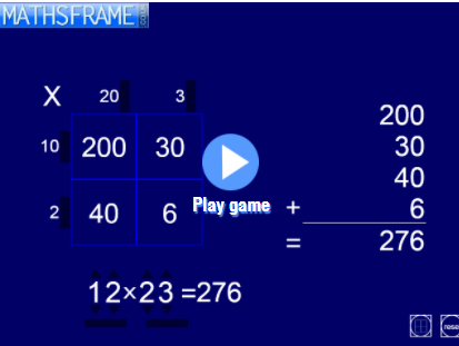 Interactive teaching programme - Grid Multiplication Mathsframe
