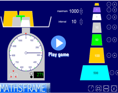 Interactive teaching programme - Measuring Scales Mathsframe