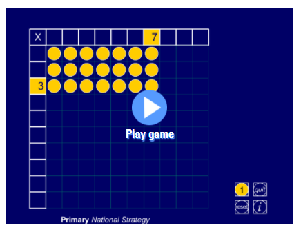 Interactive teaching programme - Multiplication Board Mathsframe